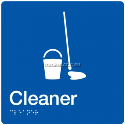 View CLEAN Cleaners Sign with Braille details.
