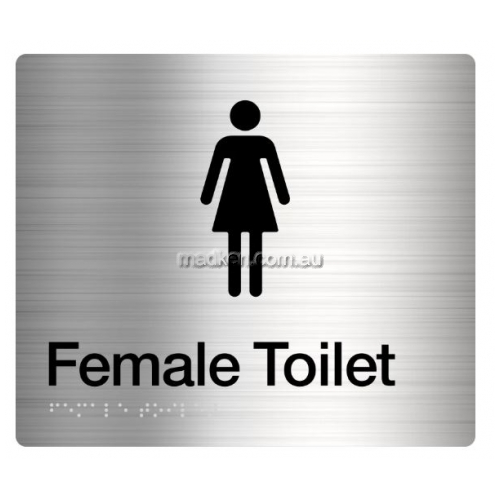 View FT Female Toilet Sign, Braille details.