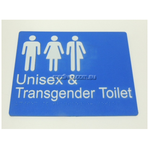 View TRANS Transgender Unisex Toilet Sign with Braille details.