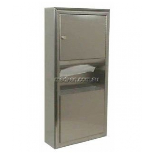 View B3699 Paper Dispenser and Waste Bin 7.6L Surface Mount details.