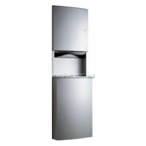 View B43944 Paper Dispenser and Waste Bin 60L Recessed details.
