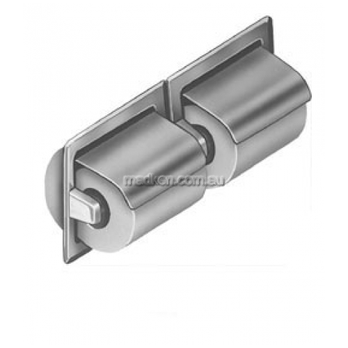 View 5123 Dual Toilet Roll Holder, Hooded, Recessed details.