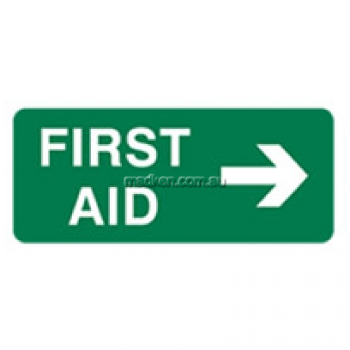 View First Aid Sign with Arrow RH details.