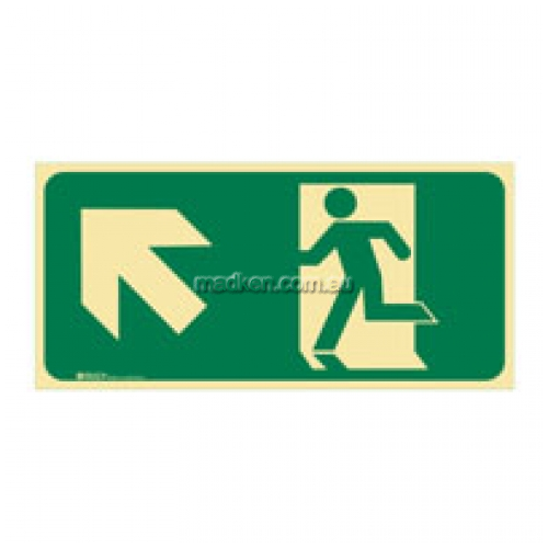 View Brady 859124 Running Man Up Left Arrow Exit Floor Sign details.