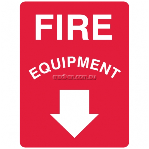 View Fire Equipment Sign with Arrow Pointing Below details.