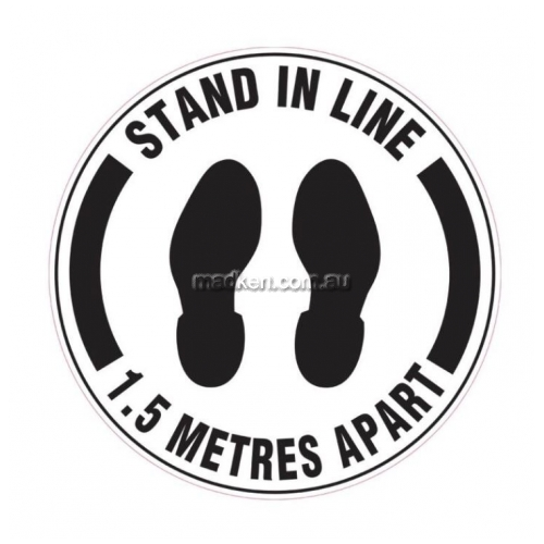 View Stand In Line 1.5 Metres Apart with Footprint Picto details.