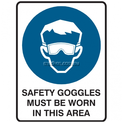 View Safety Goggles Must Be Worn In This Area details.
