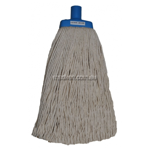 View White Contractor Cotton Mop with Blue Plastic Ferrule details.