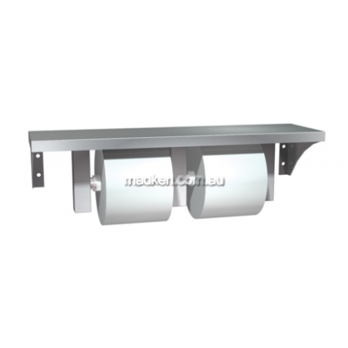 View 0697-GAL Double Toilet Roll Holder with Shelf details.