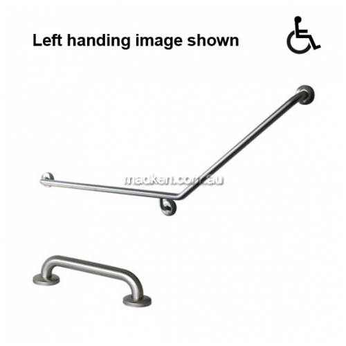 View GTP-8 Toilet Grab Rail Set 40 Degree 840 x 700mm plus 300mm Straight details.
