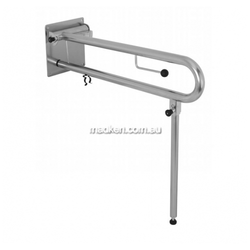 View RBA4007 Drop Down Rail with Toilet Roll Holder and Leg details.