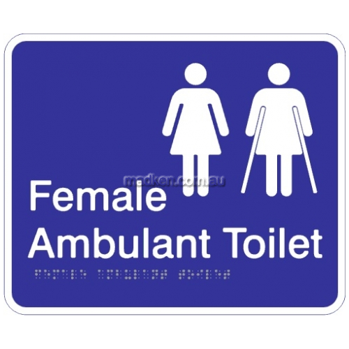 View Female and Female Ambulant Toilet Acrylic Braille Sign details.