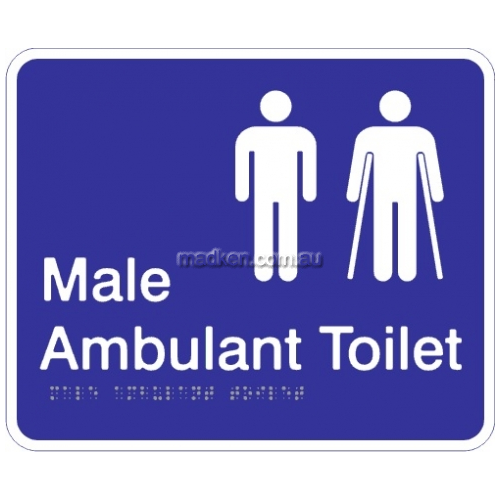 View Male and Male Ambulant Toilet Acrylic Braille Sign details.