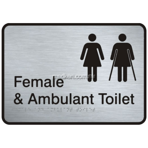 View VISS-FFAAT2 Female and Female Ambulant Toilet Sign with Braille details.