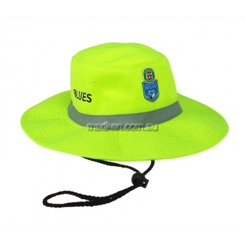 View NSW Blues Hi-Vis Wide Brim Hat with Tape Yellow details.