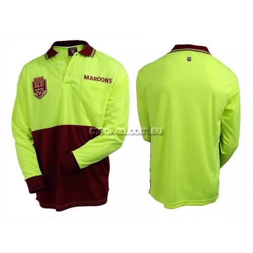 View QLD Maroons Hi-Vis Polo Long Sleeve details.
